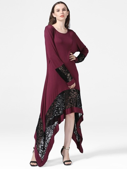 Lace Panel Asymmetric Hem Dress
