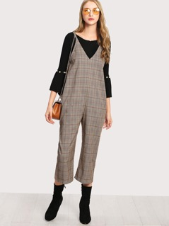 Dual V Neck Cami Plaid Jumpsuit