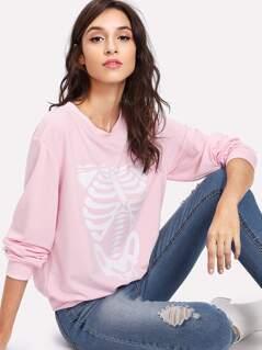 Skeleton Print Pullover