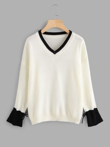 Contrast Trim Drop Shoulder Jumper