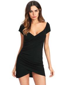 Black Short Sleeve Striped Bodycon Dress