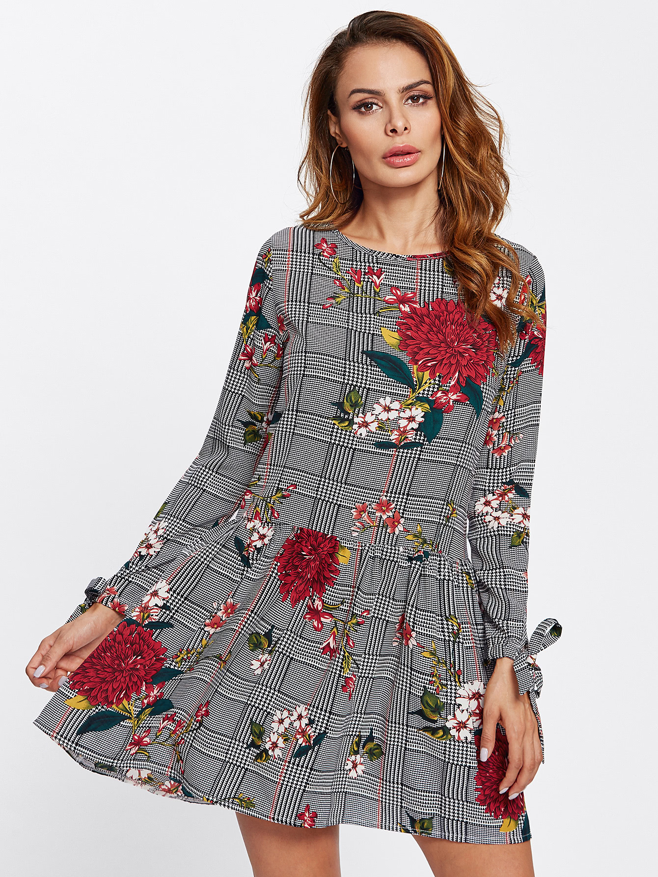 Tie Cuff Floral And Plaid Drop Waist Dress комплектующие для пылесосов oem irobot roomba 500 600 700 760 560 585 595 650 770 780 550 790 for 700 series