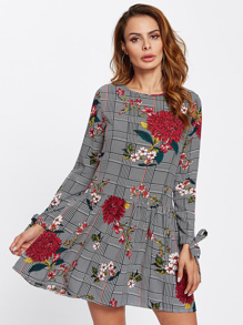 Tie Cuff Floral And Plaid Drop Waist Dress