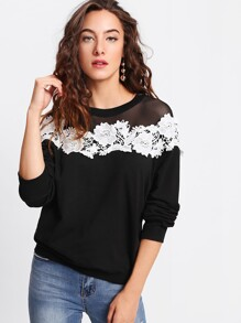 Mesh Yoke Lace Applique Pullover