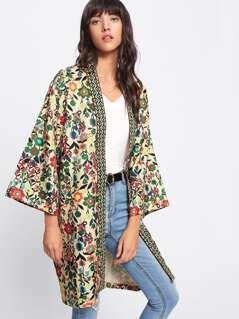 Jacquard Tape Neckline Floral Kimono Coat
