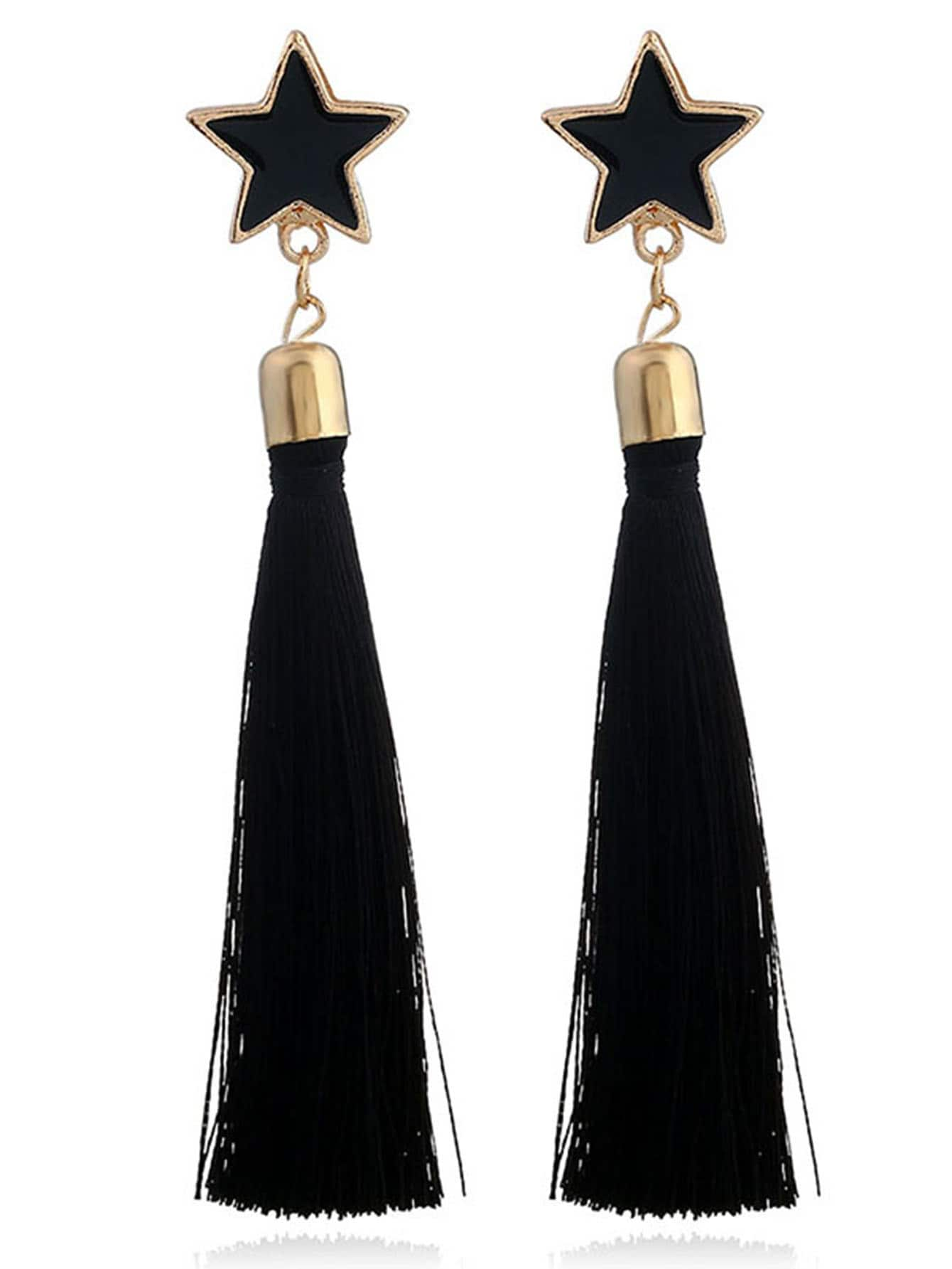Star Detail Tassel Drop Earrings
