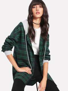 Curved Dip Hem 2 In 1 Plaid Hoodie Coat