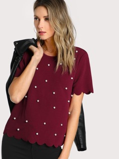 Scallop Trim Pearl Embellished Textured Top