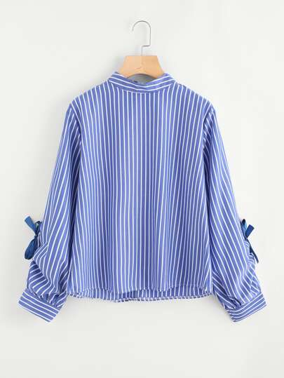 Knot Sleeve Zip Up Back Striped Blouse