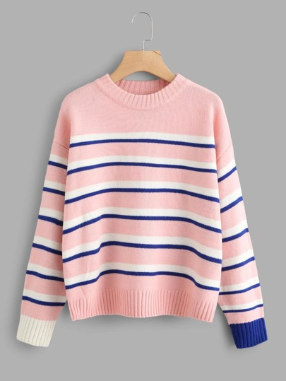 Drop Shoulder Contrast Striped Sweater