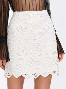 Cutout Embroidered Chevron Hem Skirt