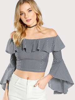 Flounce Trumpet Sleeve Striped Crop Top GREY
