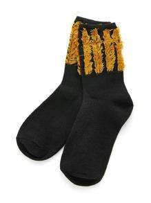 Fringe Edge Ankle Socks
