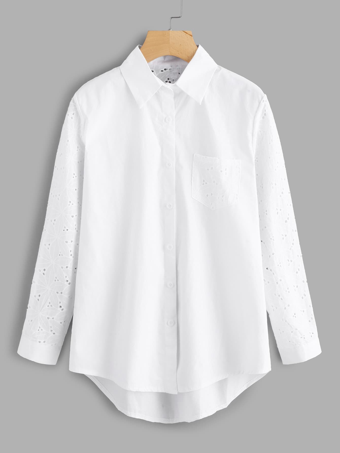 Eyelet Embroidered Panel High Low Shirt
