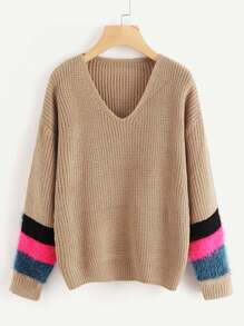 Contrast Faux Fur Drop Shoulder Sweater