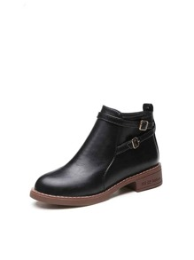 Buckle Detail Oxford Ankle Boots
