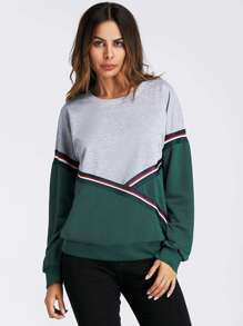 Color Block Striped Taped Sweatshirt