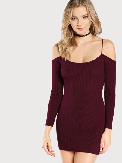 Cold Shoulder Ribbed Bodycon Dress WINE