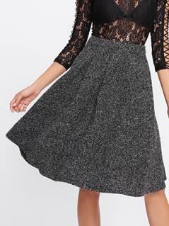 Zip Back Flared Marled Knit Skirt