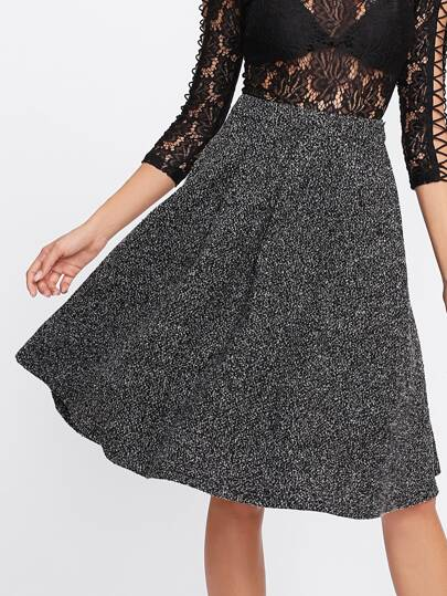 Zip Back Flared Marled Knit Skirt