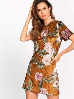 Floral Crushed Velvet Dress
