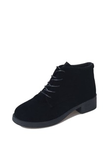 Round Toe Lace Up Ankle Boots