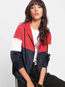 Cut And Sew Windbreaker Hoodie Jacket