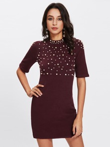 Pearl Beaded Knit Sheath Dress
