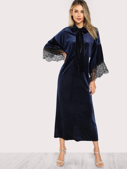 Tie Neck Lace Trim Bell Sleeve Hijab Long Dress