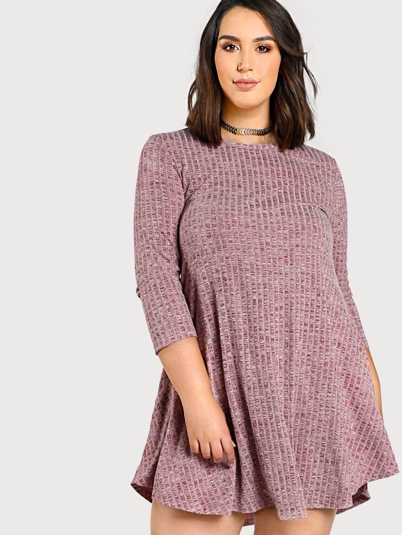 Marled Rib Knit Swing Tee Dress heather knit swing dress