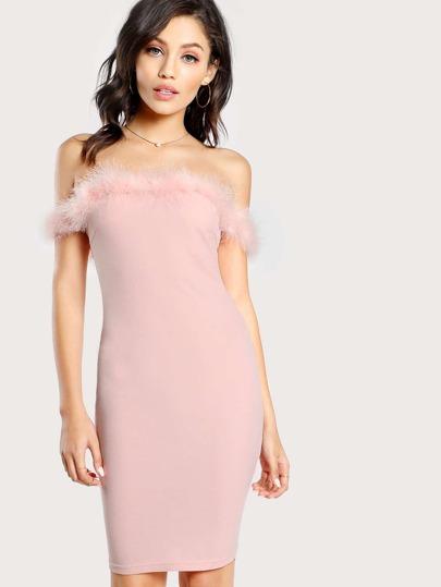 Faux Fur Detail Off Shoulder Dress