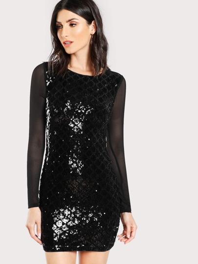 Sheer Back Sequin Dress