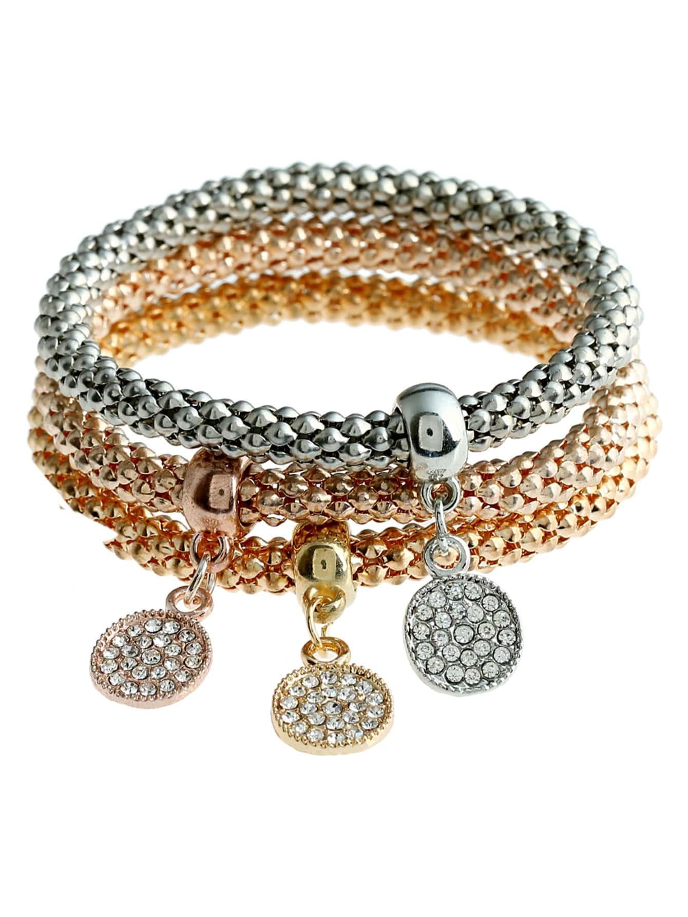 Rhinestone Charm Bracelet 3pcs