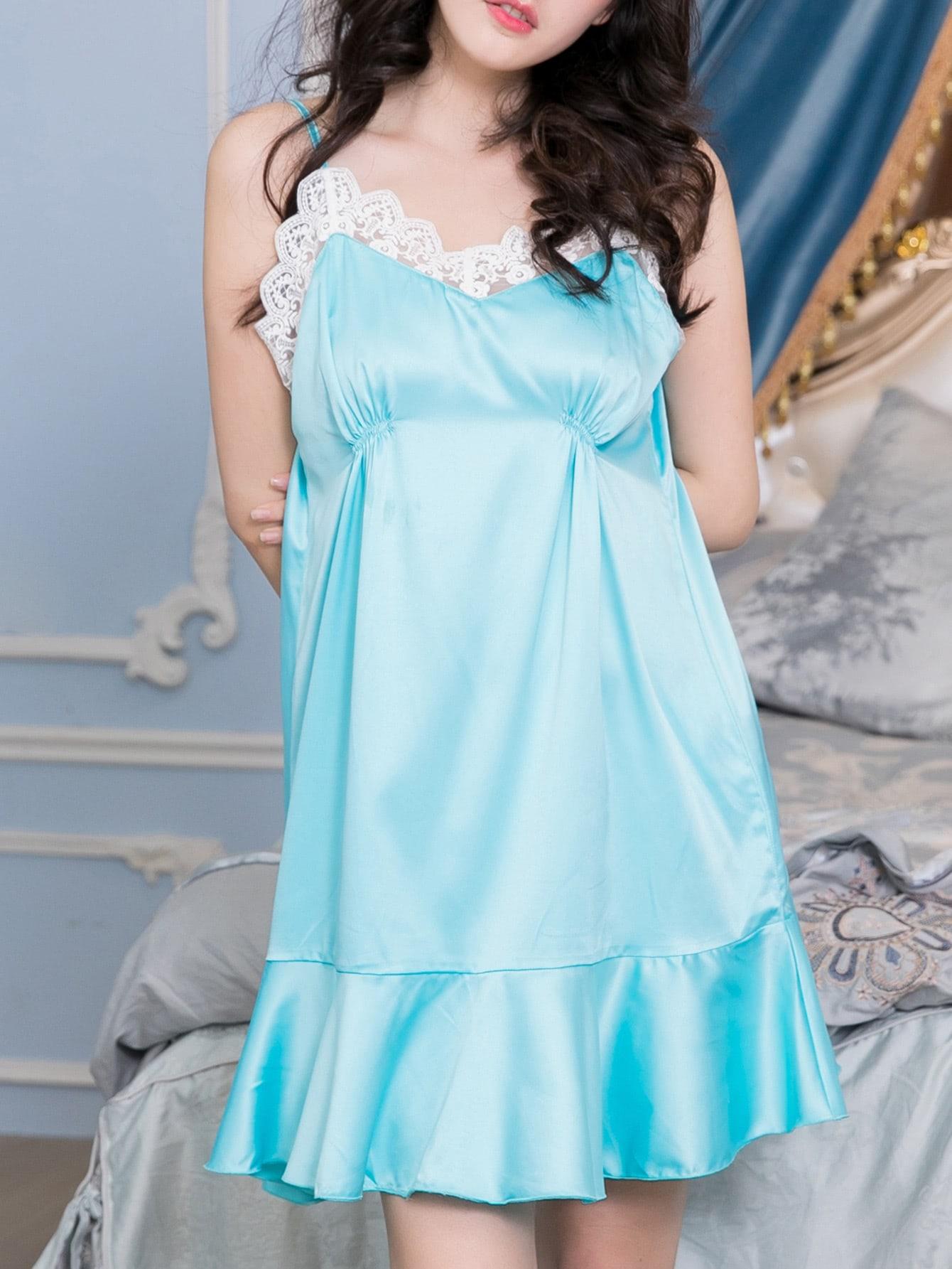Contrast Lace Ruffle Hem Cami Dress