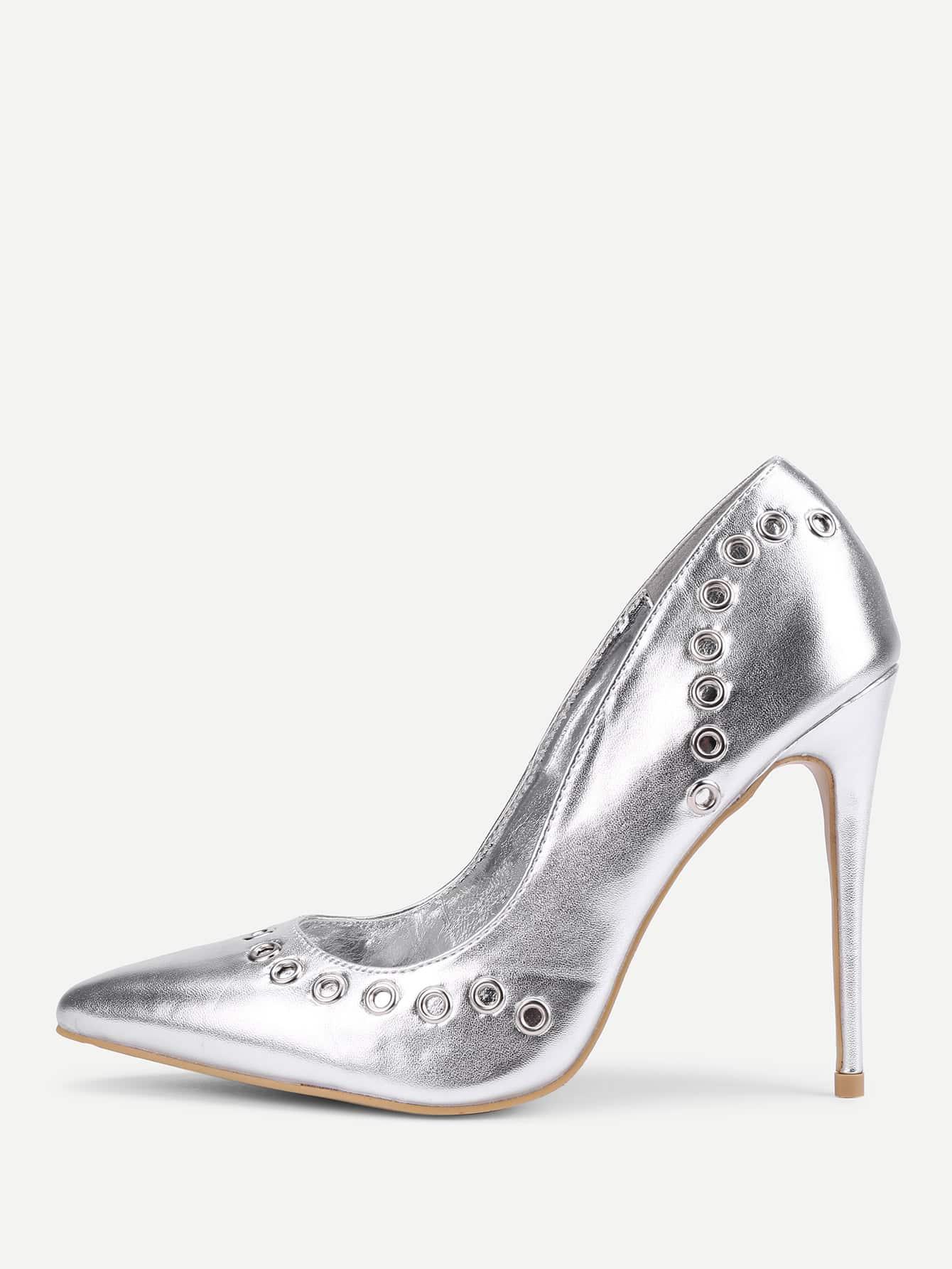 Grommet Design PU Stiletto Heels