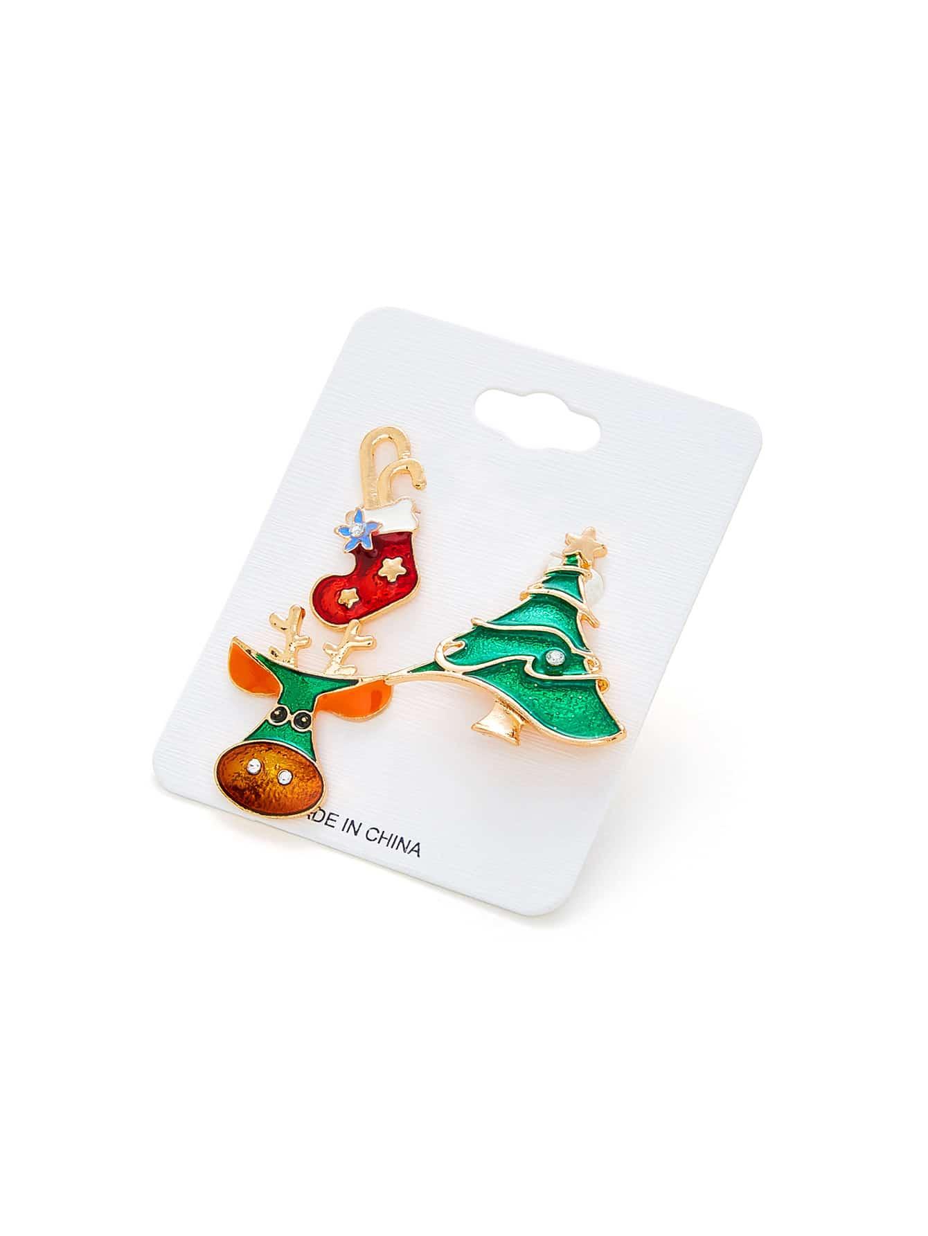 Christmas Tree & Sock Design Brooch Set christmas star tree tassel brooch