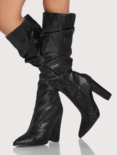 Sparkle Slouchy Knee High Boots BLACK