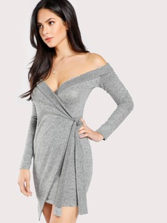 Soft Knit Quarter Sleeve Wrap Dress GREY