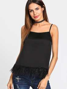 Faux Leather Trim Cami Top