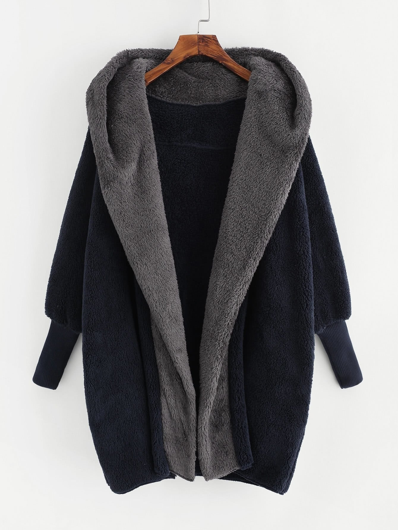 Contrast Hood Plush Coat