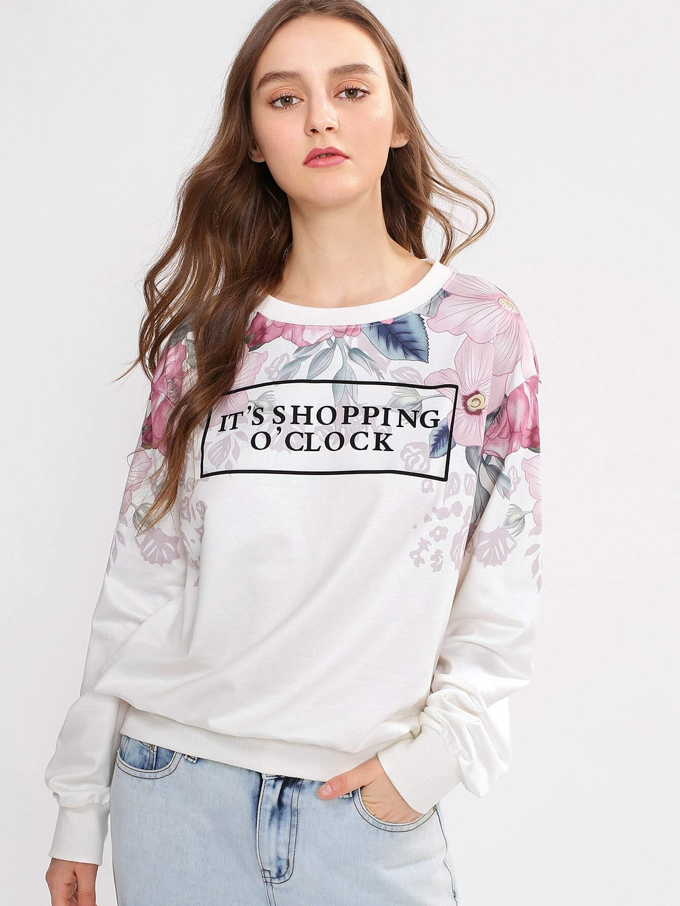 Flower Print Sweatshirt lisa corti сандалии