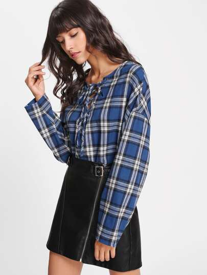 Eyelet Lace Up Checkered Top