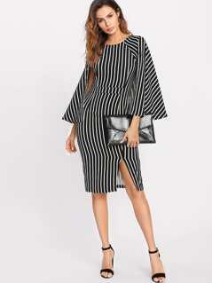 Slit Front Striped Cape Dress
