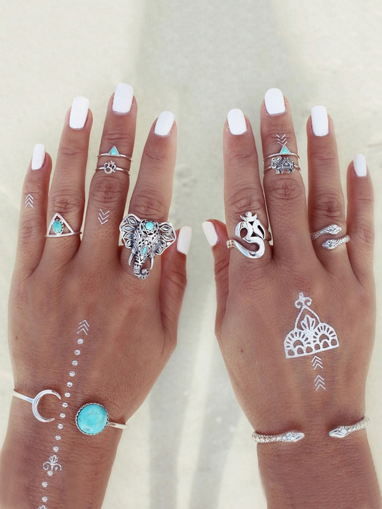 Turquoise Detail Elephant Ring Set 8pcs