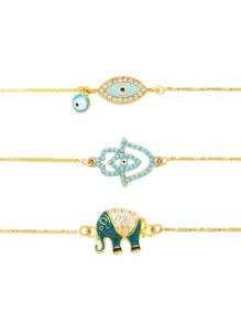 Eye & Elephant Design Link Bracelet Set