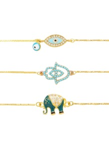 Eye & Elephant Design Link Bracelet Set 3pcs