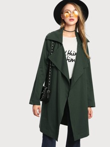 Overlap Back Self Belted Trench Coat