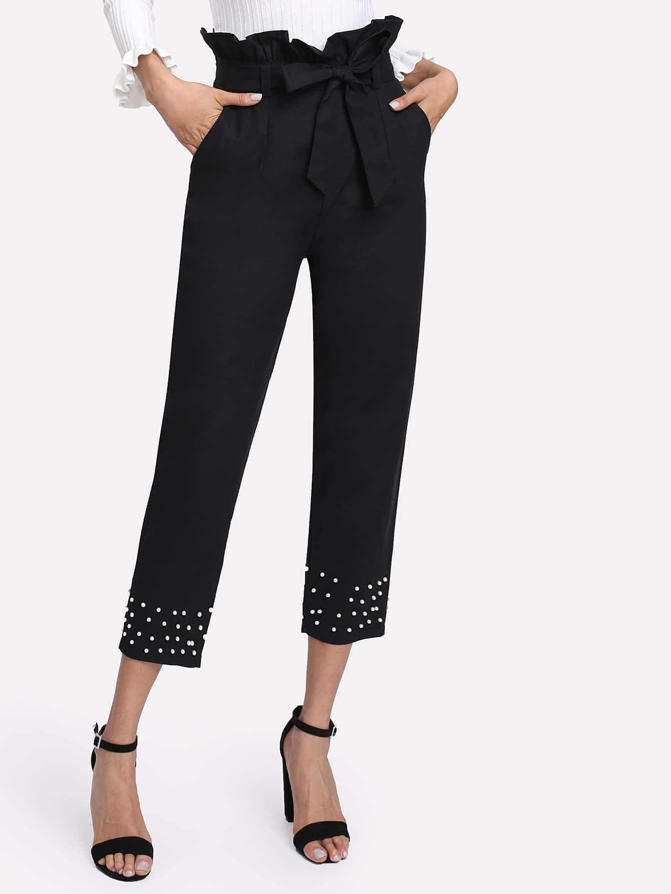 Image of Pearl Beading Frill Waist Pants