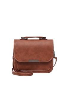 Metal Detail Flap PU Shoulder Bag