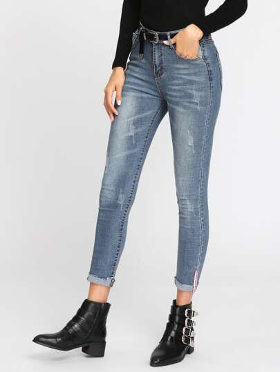 Bleach Wash Roll Up Hem Jeans